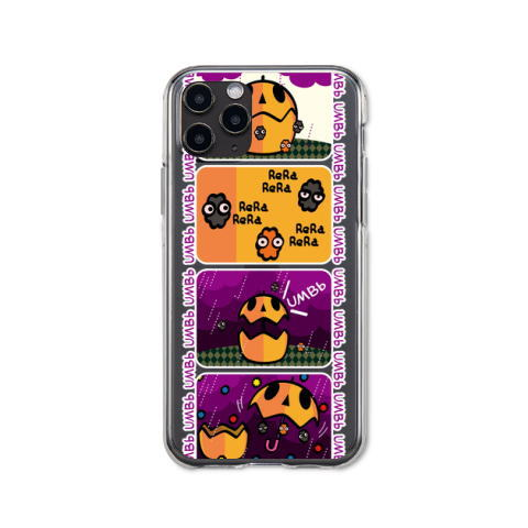 36 iPhoneケース ハードケース CT96 4コマ アンブー ポップ 傘 アンブレラ アンブー おばけ 妖怪 コンペイトウ マンガ イラスト Tシャツトリニティ リンク