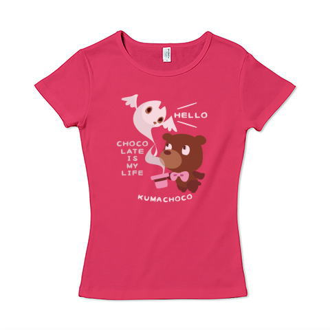 CT100KUMACHOCO* CHOCOLATE IS MY LIFE *A  ポップ クマ クマチョコ チョコレート チョコ バレンタイン お菓子 ネコ おばけ スイーツ イラスト Tシャツ 半袖 レディース Tシャツトリニティ リンク