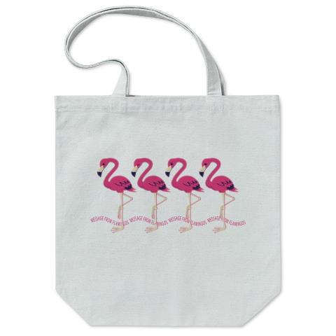 CT102 2222*フラミンゴのメッセージ フラミンゴ 鳥 数字 2222 メッセージ キャラクター キャラ イラスト トートバッグ マイバッグ エコバッグ Tシャツトリニティ リンク