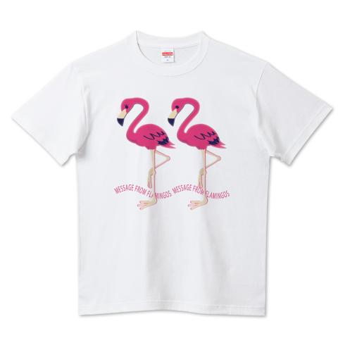 CT103 22*フラミンゴのメッセージ フラミンゴ 鳥 数字 22 メッセージ キャラクター キャラ イラスト Tシャツ 半袖 Tシャツトリニティ リンク