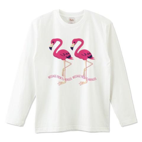 CT103 22*フラミンゴのメッセージ フラミンゴ 鳥 数字 22 メッセージ キャラクター キャラ イラスト Tシャツ 長袖 Tシャツトリニティ リンク