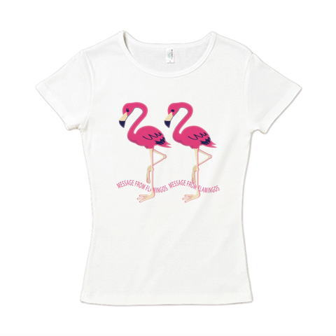 CT103 22*フラミンゴのメッセージ フラミンゴ 鳥 数字 2222 メッセージ キャラクター キャラ イラスト Tシャツ 半袖 レディース Tシャツトリニティ リンク