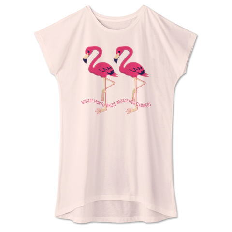 CT103 22*フラミンゴのメッセージ フラミンゴ 鳥 数字 2222 メッセージ キャラクター キャラ イラスト Tシャツ 半袖 ワンピース 重ね着 Tシャツトリニティ リンク