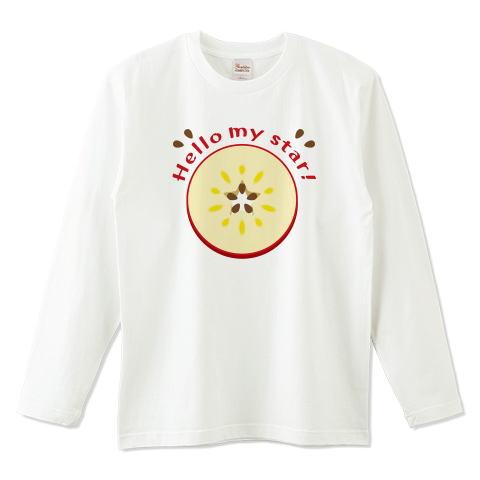 CT105 輪切りのリンゴ  輪切り リンゴ 果物 食べ物 星 イラスト Tシャツ 半袖 Tシャツトリニティ リンク