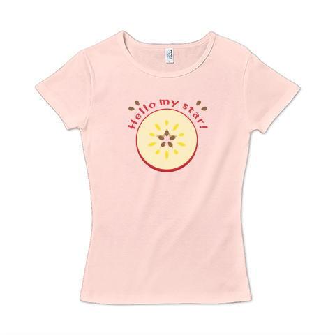 CT105 輪切りのリンゴ  輪切り リンゴ 果物 食べ物 星  イラスト Tシャツ 半袖 レディース Tシャツトリニティ リンク