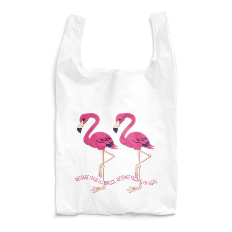 CT103 22*フラミンゴのメッセージ フラミンゴ 鳥 数字 22 メッセージ キャラクター キャラ イラスト エコバッグ SUZURI リンク