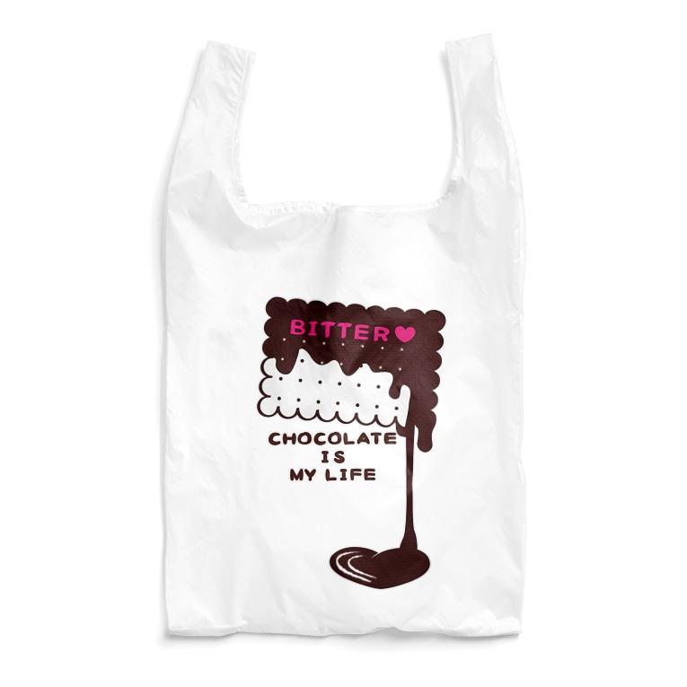 CT100KUMACHOCO* CHOCOLATE IS MY LIFE *A  ポップ クマ クマチョコ チョコレート チョコ バレンタイン お菓子 スイーツ イラスト エコバッグ SUZURI リンク