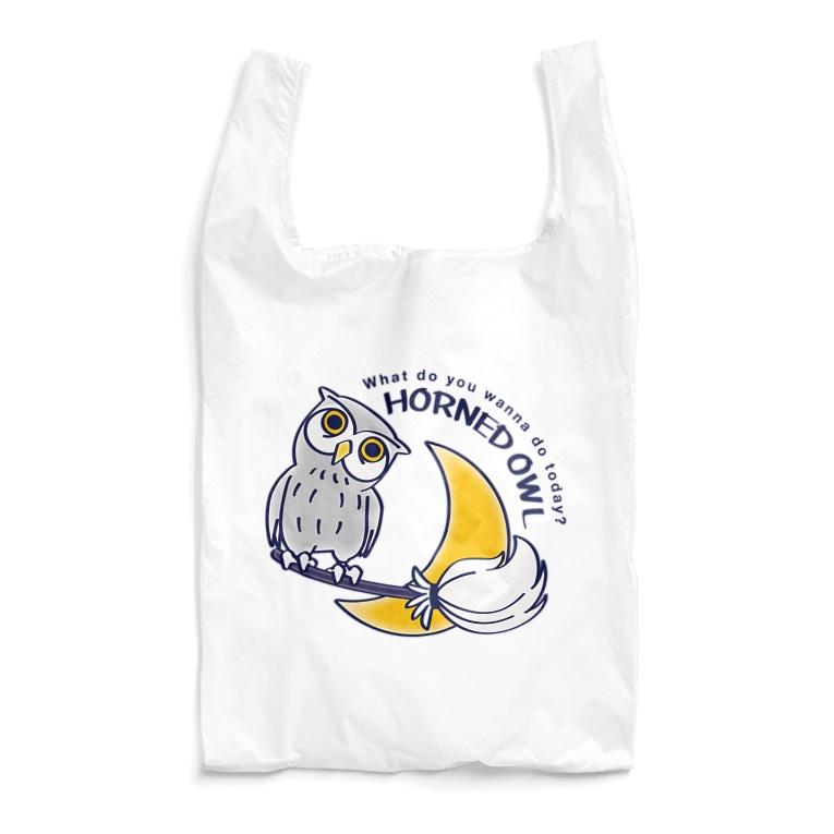 HORNED OWL フクロウ ミミズク 鳥 月夜 魔法のホウキ  かわいい エコバッグ SUZURI リンク