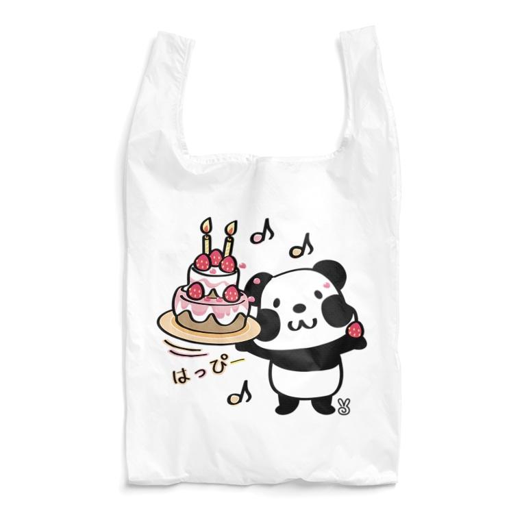 パンダ ズレちゃん ズレぱんだ ケーキ happy 誕生日 お祝い かわいい エコバッグ SUZURI リンク