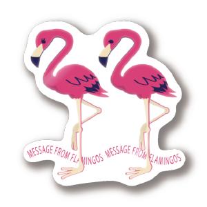 CT103 22*フラミンゴのメッセージ フラミンゴ 鳥 数字 22 メッセージ キャラクター キャラ イラスト ステッカー SUZURI リンク