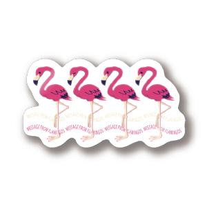 CT102 2222*フラミンゴのメッセージ フラミンゴ 鳥 数字 2222 メッセージ キャラクター キャラ イラスト ステッカー SUZURI リンク