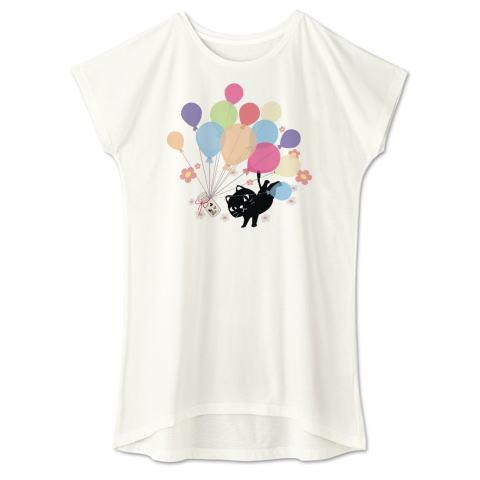 CT110 風船の種 やみねこ クロネコ 黒猫 風船 希望 ファンタジー キャラクター キャラ オリジナル オリキャラ イラスト Tシャツ 半袖 ワンピース 重ね着 Tシャツトリニティ リンク
