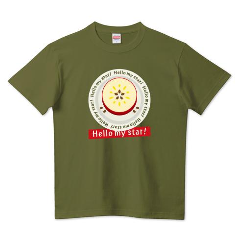 CT105 輪切りのリンゴD リンゴ リンゴの輪切り 星 スター ラッキー   オリジナル オリキャラ イラスト Tシャツ 半袖 Tシャツトリニティ リンク