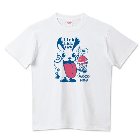 CT123 モコモコラビット*Lick Lick Lick ウサギ ロボット ベロベロ  キャラクター キャラ オリジナル オリキャラ イラスト Tシャツ 半袖 Tシャツトリニティ リンク