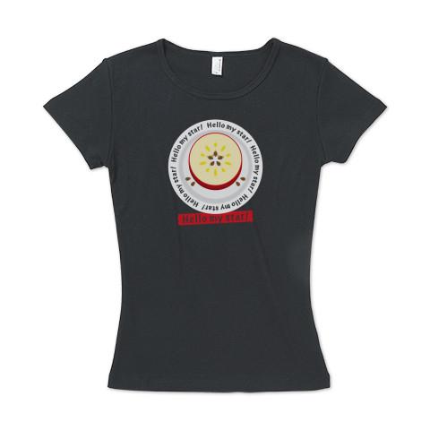 CT105 輪切りのリンゴC*bg リンゴ リンゴの輪切り 星 スター ラッキー オリジナル オリキャラ イラスト Tシャツ 半袖 レディース Tシャツトリニティ リンク