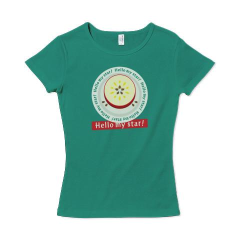 CT105 輪切りのリンゴD リンゴ リンゴの輪切り 星 スター ラッキー   オリジナル オリキャラ イラスト Tシャツ 半袖 レディース Tシャツトリニティ リンク