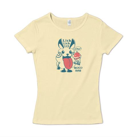 CT123 モコモコラビット*Lick Lick Lick ウサギ ロボット ベロベロ  キャラクター キャラ オリジナル オリキャラ イラスト Tシャツ 半袖 レディース Tシャツトリニティ リンク