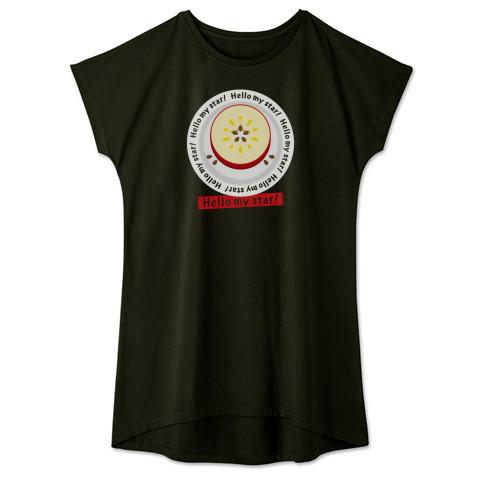 CT105 輪切りのリンゴC*bg リンゴ リンゴの輪切り 星 スター ラッキー オリジナル オリキャラ イラスト Tシャツ 半袖 ワンピース 重ね着 Tシャツトリニティ リンク