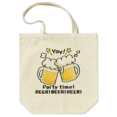 CT125 BEER!BEER!BEER!*ホワイトインク ビール 生ビール アルコール ジョッキ イラスト トートバッグ マイバッグ エコバッグ Tシャツトリニティ リンク