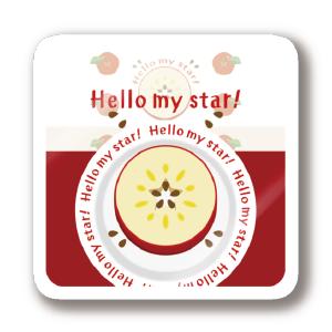 CT105 輪切りのリンゴ  輪切り リンゴ 果物 食べ物 星 ステッカー SUZURI リンク