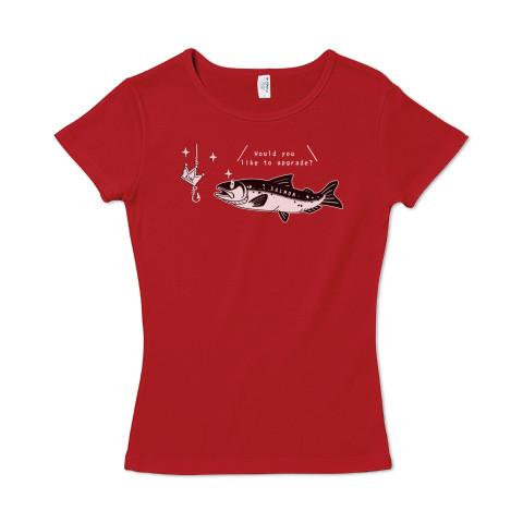 CT142 キングサーモンへB サーモン 魚 鮭 キングサーモン 釣り アップデート 注意 ユーモア ギャグ ネタ Tシャツ 半袖レディース  Tシャツトリニティ リンク