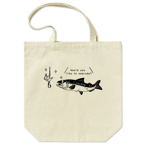 CT142a キングサーモンへB サーモン 魚 鮭 キングサーモン 釣り イラスト トートバッグ マイバッグ エコバッグ Tシャツトリニティ リンク