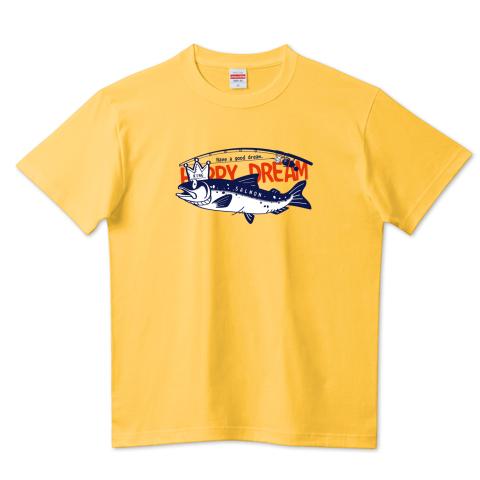 CT143 サモタンの夢* 魚釣りサーモン キングサーモン バージョンアップ イラスト Tシャツ 半袖 Tシャツトリニティ リンク