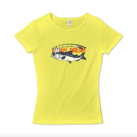 CT143 サモタンの夢 魚釣りサーモン キングサーモン バージョンアップ  イラスト Tシャツ 半袖レディース Tシャツトリニティ リンク