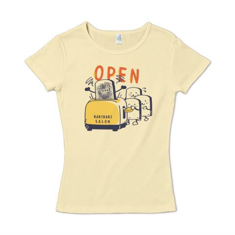 CT144 カリカリサロン*A かわいい パン 食パン open カリカリ トースター サロン 営業中  Tシャツ 半袖レディース  Tシャツトリニティ リンク