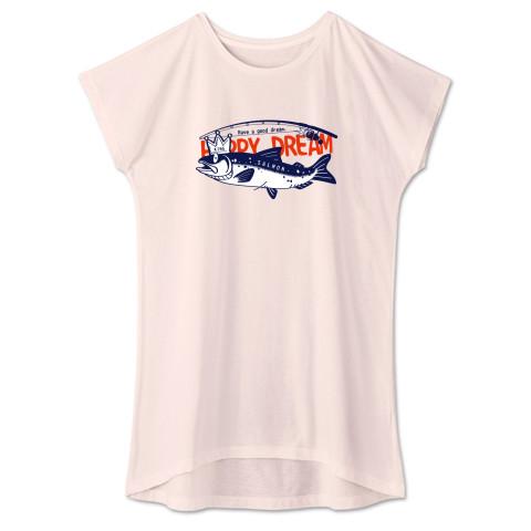 CT143 サモタンの夢 魚釣りサーモン キングサーモン バージョンアップ    イラスト Tシャツ 半袖 ワンピース 重ね着  Tシャツトリニティ リンク
