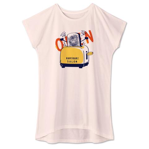 CT144 カリカリサロン*A かわいい パン 食パン open カリカリ トースター サロン 営業中  イラスト Tシャツ 半袖 ワンピース 重ね着  Tシャツトリニティ リンク