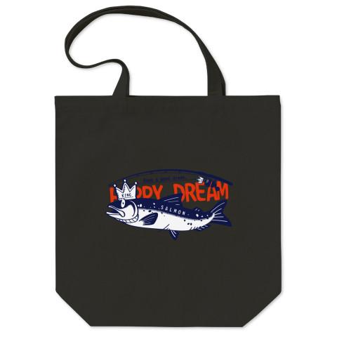 CT143 サモタンの夢 魚釣りサーモン キングサーモン バージョンアップ   イラスト トートバッグ マイバッグ エコバッグ Tシャツトリニティ リンク