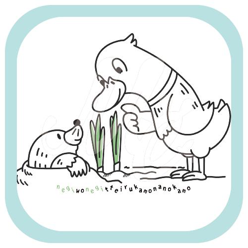 CT159 ネギを値切っている鴨カモ*A 鴨 カモ 鴨かも 値切る ネギ カモネギ 鴨ネギ 長ネギ 野鳥 トリ 鳥 キャラ キャラクター イラスト Tシャツ トリニティ リンク