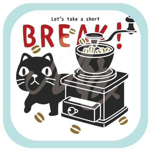 CT154やみねこのコーヒー*A コーヒー 珈琲 コーヒー豆 コーヒーミル クロネコ ネコ 猫 黒猫 イラスト Tシャツ トリニティ リンク