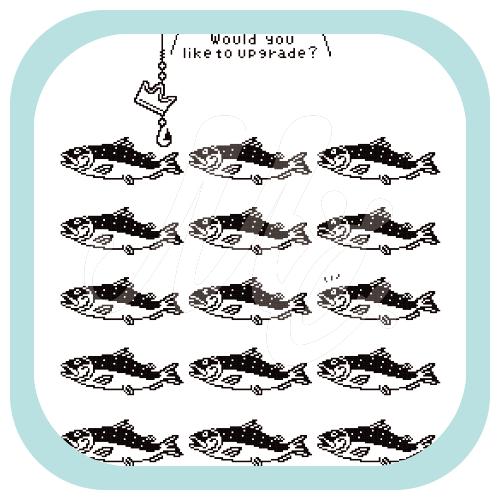 CT152 サモタンの群れ サーモン 魚 キングサーモン 釣り しかけ キャラ キャラクター イラスト Tシャツ トリニティ リンク
