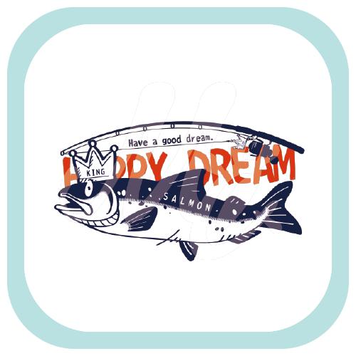 CT143 サモタンの夢 キングサーモン 鮭 サーモン 魚 釣り キング しかけ 罠 キャラ キャラクター イラスト Tシャツ トリニティ リンク