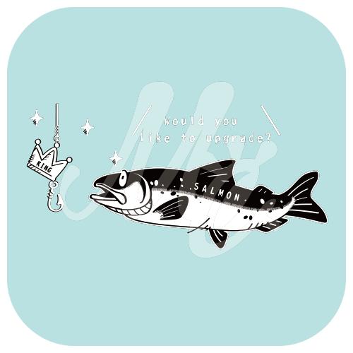 CT142 キングサーモンへ 釣り 魚 サーモン キングサーモン 罠 キャラ キャラクター イラスト Tシャツ トリニティ リンク