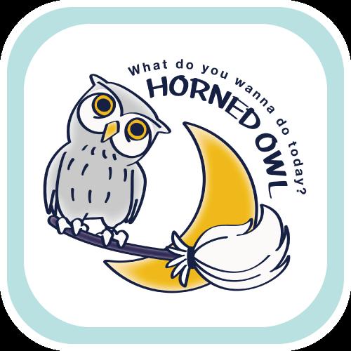 CT72 HORNED OWL 月夜 フクロウ ミミズク イラスト Tシャツ トリニティ リンク