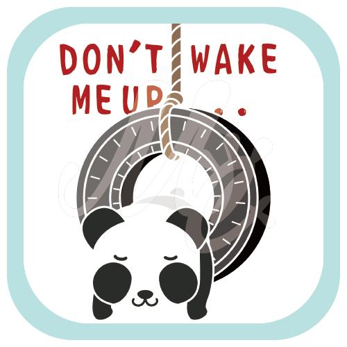 CT162 おこさないでねA*ズレぱんだちゃんのDON'T WAKE ME UP... ズレぱんだちゃん パンダ タイヤ 寝る 眠い ウトウト イラスト Tシャツ トリニティ リンク