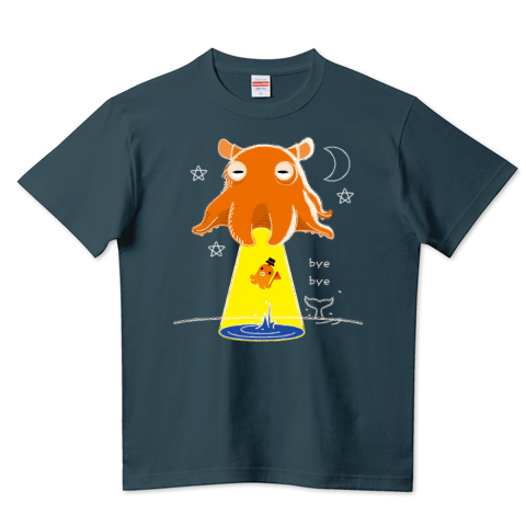 CT145 たこさんwinなーとめんだこUFO*B メンダコ UFO タコさんウインナー 夜空 乗り物 イラスト Tシャツ 半袖 Tシャツトリニティ リンク