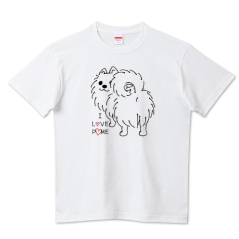 CT83いつも見ているポメラニアン*I LOVE POME*E 犬かわいい お尻 ポメラニアン ポメ ふりむき pome Tシャツ 半袖 Tシャツトリニティ リンク