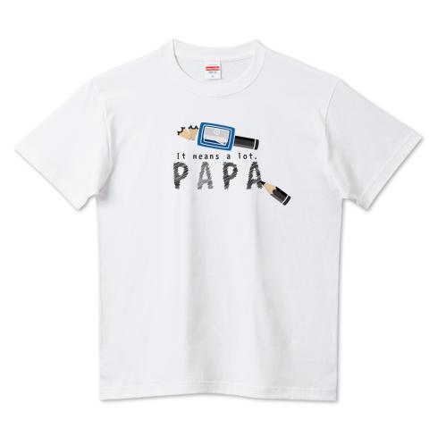 CT157 ちびた色鉛筆*D*鉛筆でPAPA パパありがとう 父の日 鉛筆 papa 文具 大切な事 イラスト Tシャツ 半袖 Tシャツトリニティ リンク