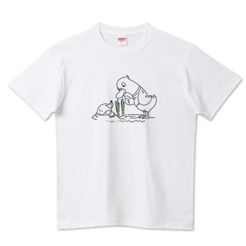 CT159 ネギを値切っている鴨カモ*A ほのぼの 鳥 ネギ もぐら 鴨 長ネギ 値切る ねぎる イラスト Tシャツ 半袖 Tシャツトリニティ リンク