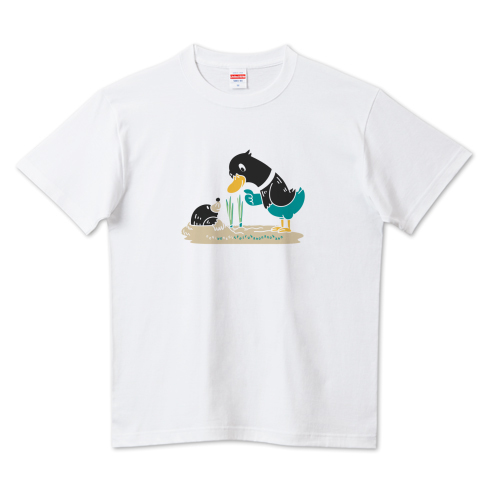CT159 ネギを値切っている鴨カモ*C ほのぼの 鳥 ネギ もぐら 鴨 長ネギ 値切る ねぎる Tシャツ 半袖 Tシャツトリニティ リンク