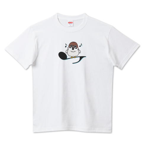 CT161 スズメがちゅんA 音符 かわいい 鳥 バード 野鳥 スズメ 歌 ちゅん 晴れの日 ちゅん活 Tシャツ 半袖 Tシャツトリニティ リンク