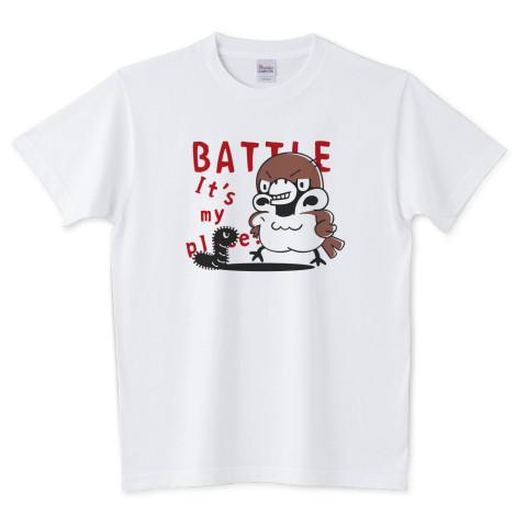 CT166 スズメがちゅん BATTLEちゅん 鳥 キャラクター BATTLE 野鳥 スズメ 雀 すずめ ちゅん活 スズメのちゅん うわばきちゅん ブレンド Tシャツ 半袖 Tシャツトリニティ リンク