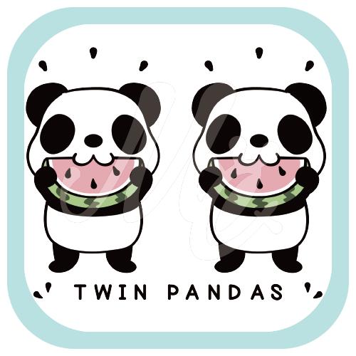 CT168 TWIN PANDAS 一緒のスイカイラスト Tシャツ トリニティ リンク