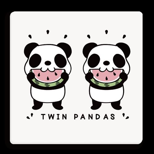 TWIN PANDAS 一緒のスイカ パンダ 動物 キャラクター キャラ 誕生 双子 スイカ おめでとう パンダのイラスト 双子のパンダ
