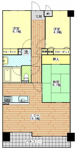 トーカンマンション新戸町 701号室.GIF