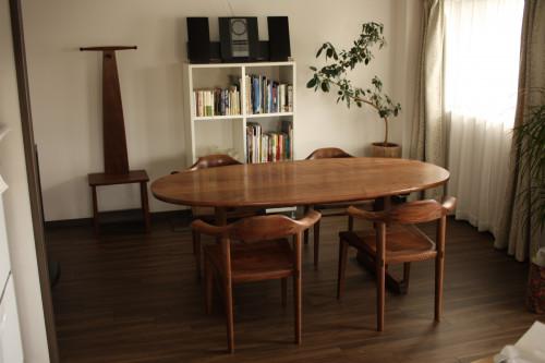 オーバルテーブル 楕円テーブル ウォールナット